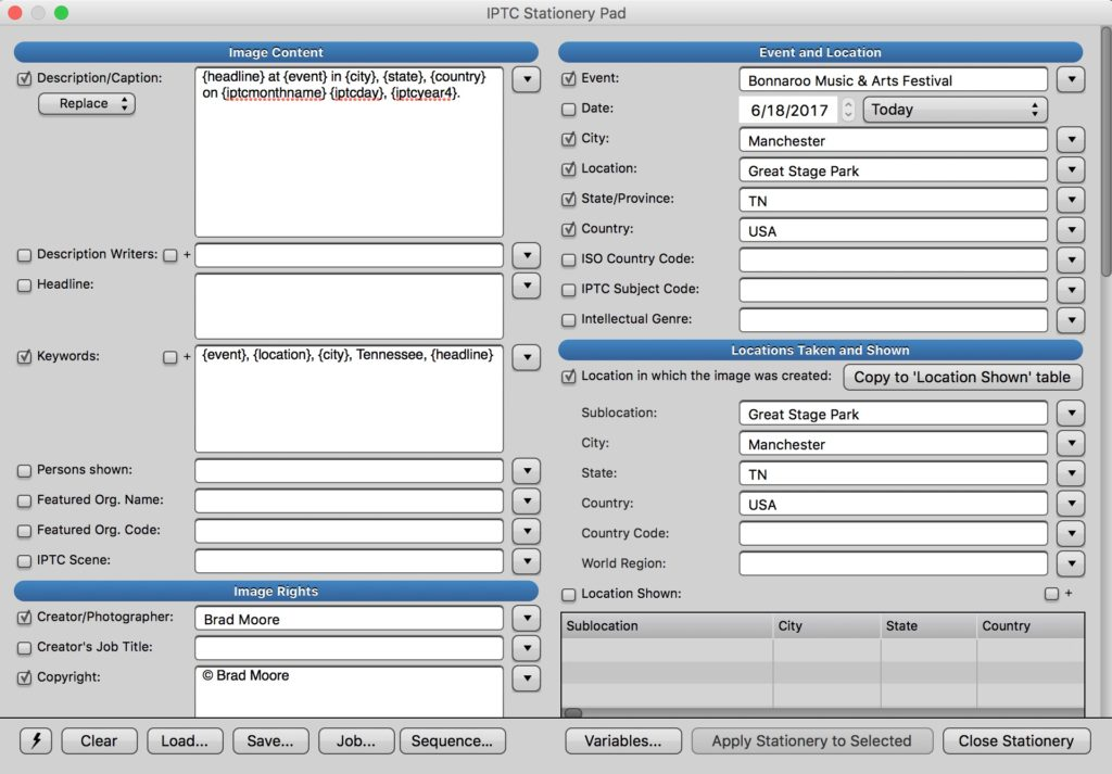 Photo Mechanic IPTC Stationery Pad for applying metadata to files upon import