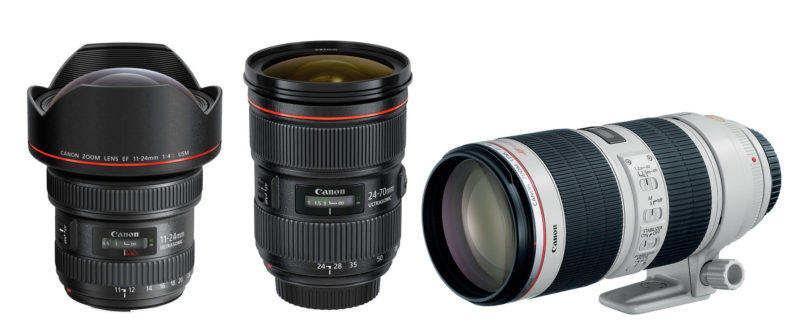 Canon 11-24mm f/4, Canon 24-70mm f/2.8, Canon 70-200mm f/2.8 lenses