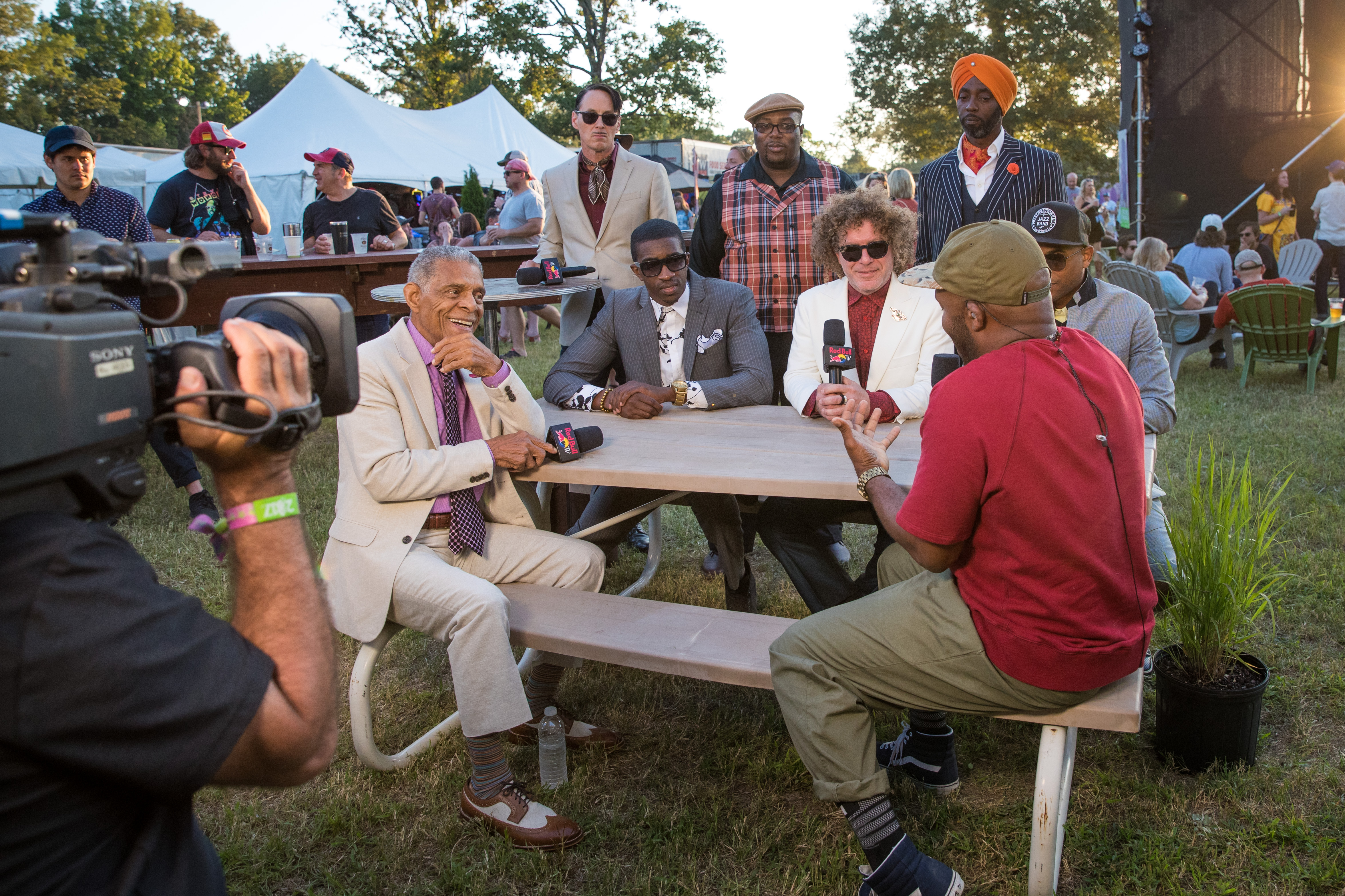 Preservation Hall Jazz Band is interviewed by Sal Masekela at Bonnaroo Music & Arts Festival in Manchester, TN, USA on June 9, 2017.