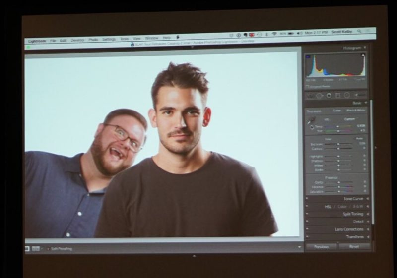 Brad Moore photo bombs a model during Scott Kelby's Shoot Like A Pro Reloaded seminar in Nashville, TN