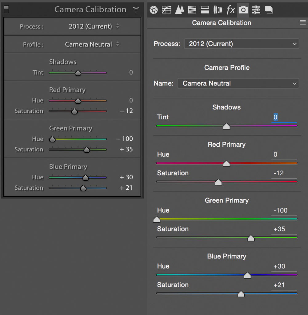 Camera Calibration settings in Lightroom and Adobe Camera Raw