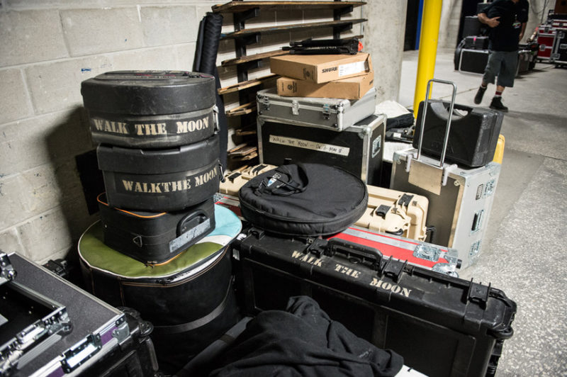 Walk The Moon's gear cases at 93.3 FLZ's Jingle Ball in Tampa, Florida