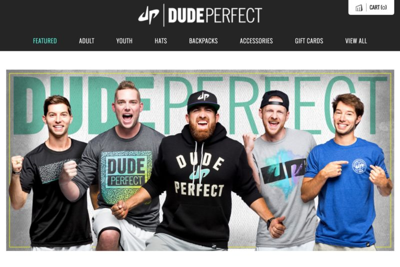 Screen shot of the Dude Perfect storefront using Brad Moore's photos