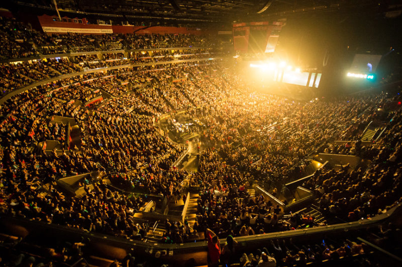 The sold out arena at Y100's Jingle Ball in Miami, Florida