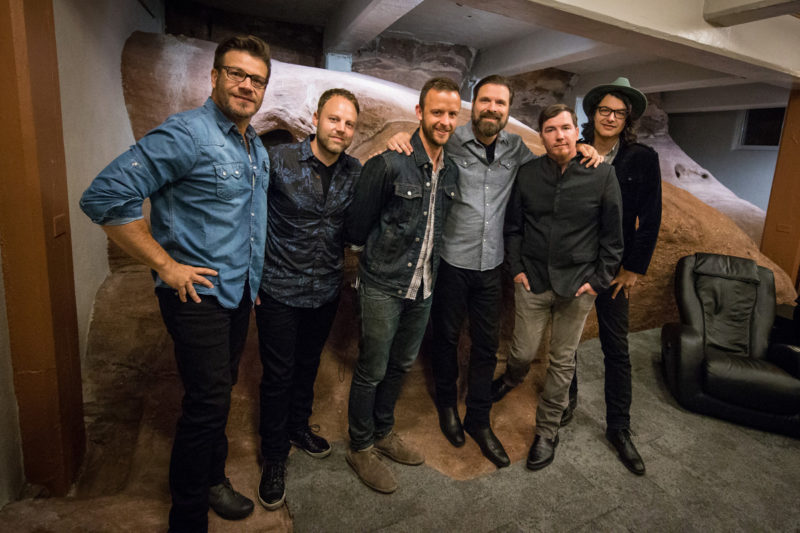 Scotty Wilbanks, David Carr, Tim Gibson, Mac Powell, Mark Lee, and Brian Bunn of Third Day pose backstage on June 14, 2015 at Red Rocks Amphitheater in Morrison, Colorado