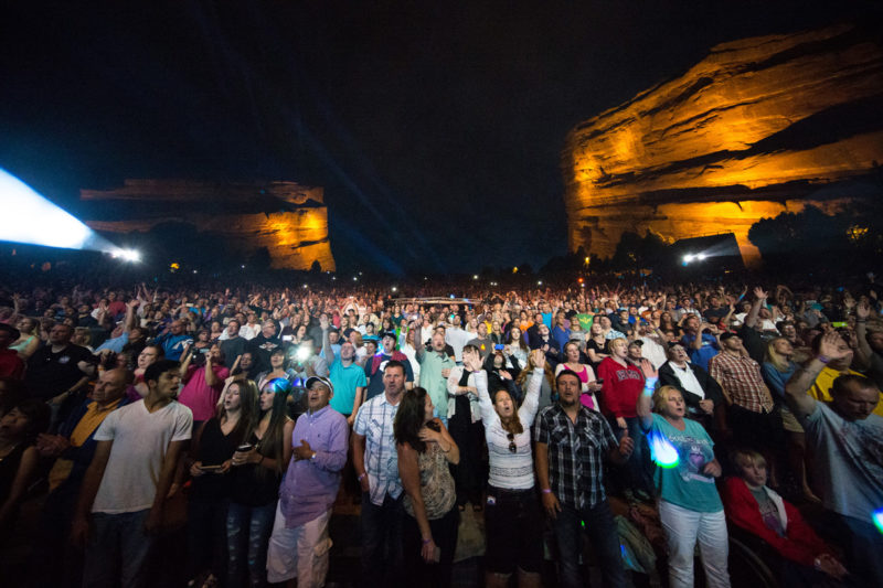 Fans watch as Third Day perform on June 14, 2015 at Red Rocks Amphitheater in Morrison, Colorado