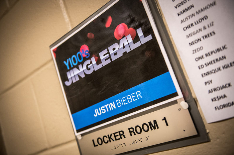 Justin Bieber's dressing room sign backstage at Y100's Jingle Ball in Miami, Florida