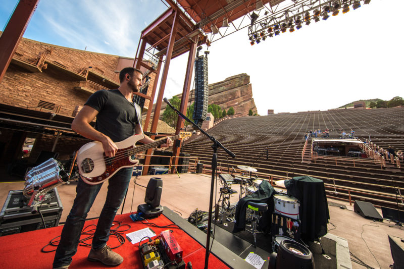 Tim Gibson sound checks with Third Day on June 14, 2015 at Red Rocks Amphitheater in Morrison, Colorado