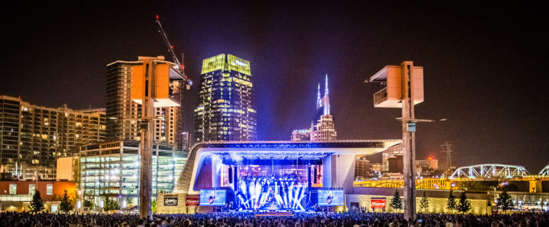 Ascend Amphitheater and the Nashville skyline at night