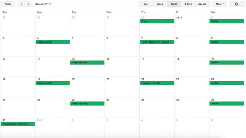 Screenshot of a not verywell planned month on Google Calendar