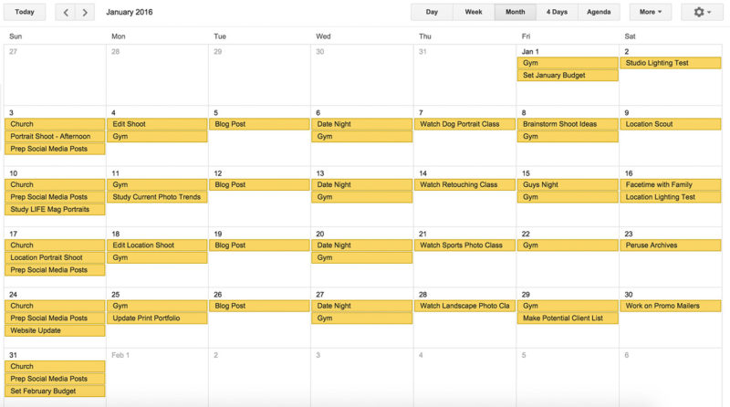 Screenshot of a month on Google Calendar, making time for the important things, both personal and professional