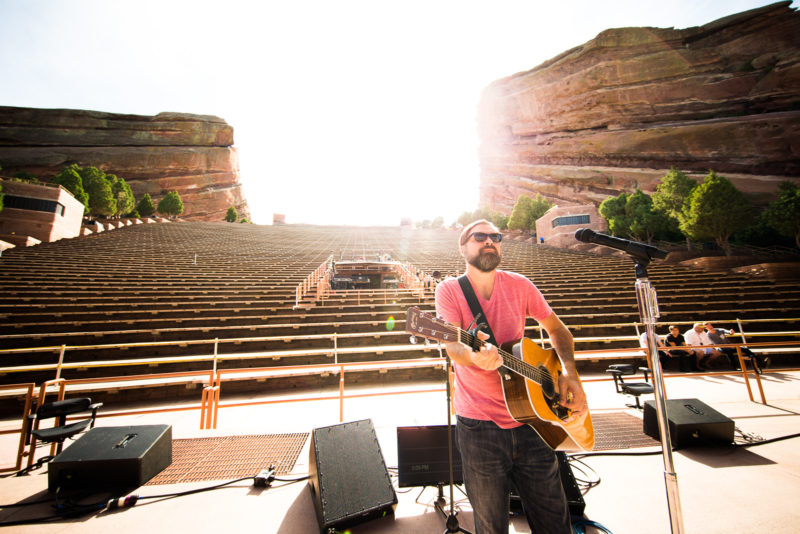 Mac Powell of Third Day soundchecks on June 14, 2015 at Red Rocks Amphitheater in Morrison, Colorado
