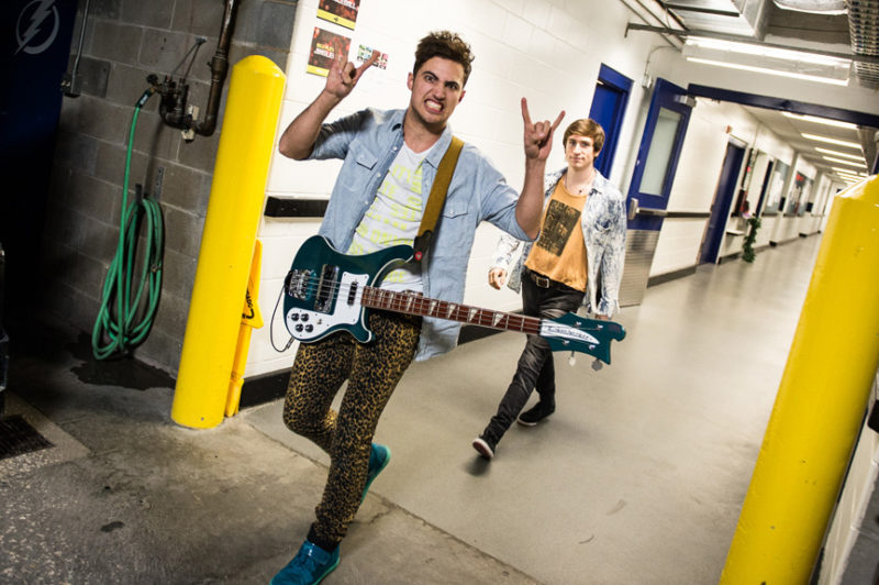 Kevin Ray and Nicholas Petricca of Walk The Moon backstage at 93.3 FLZ's Jingle Ball in Tampa, Florida