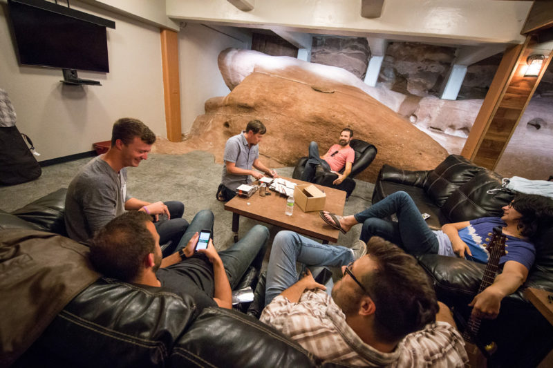 Third Day hang backstage in their green room on June 14, 2015 at Red Rocks Amphitheater in Morrison, Colorado