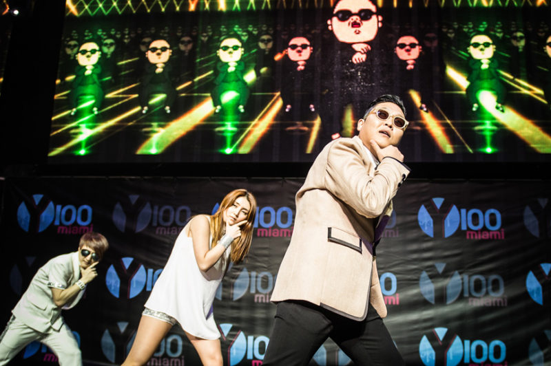 Psy performing Gangnam Style during Y100's Jingle Ball in Miami, Florida