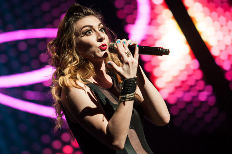 Amy Renee Nooman of Karmin performs during Y100's Jingle Ball in Miami, Florida