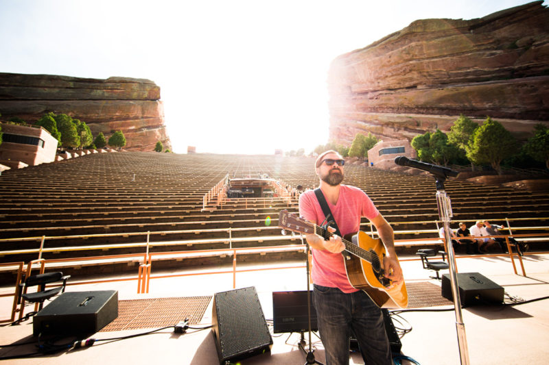 Mac Powell of Third Day sound checks on June 14, 2015 at Red Rocks Amphitheater in Morrison, Colorado