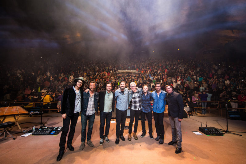 Brian Bunn, Tim Gibson, Brandon Heath, Mac Powell, Matt Maher, David Carr, Scotty Wilbanks, and Mark Lee at the end of Third Day's set on June 14, 2015 at Red Rocks Amphitheater in Morrison, Colorado