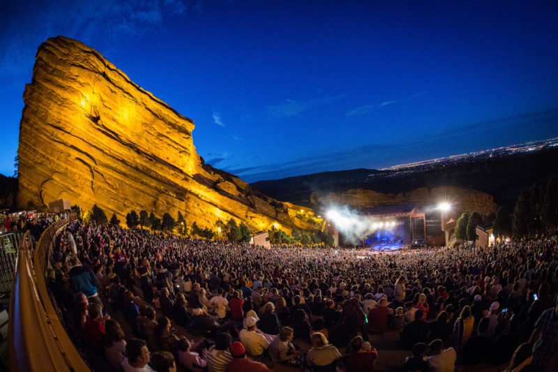 A view of the sold out crowd on June 14, 2015 at Red Rocks Amphitheater in Morrison, Colorado
