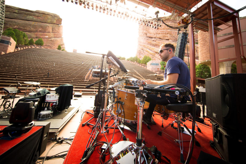 David Carr of Third Day sound checks on June 14, 2015 at Red Rocks Amphitheater in Morrison, Colorado