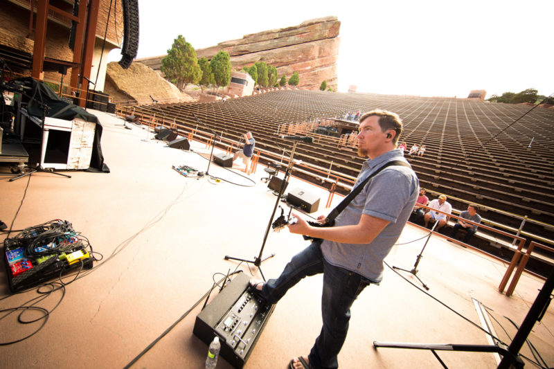 Mark Lee of Third Day sound checks on June 14, 2015 at Red Rocks Amphitheater in Morrison, Colorado