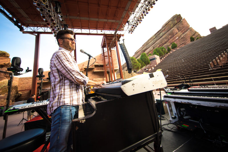 Scotty Wilbanks sound checks with Third Day on June 14, 2015 at Red Rocks Amphitheater in Morrison, Colorado