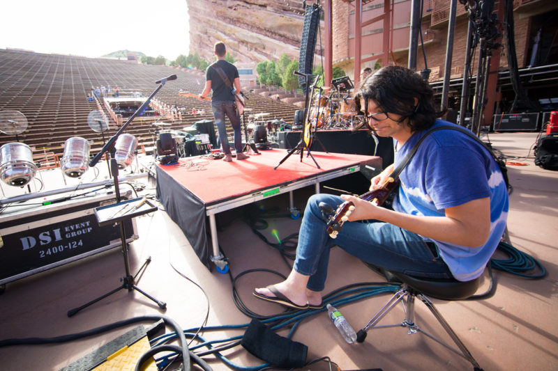 Brian Bunn sound checks with Third Day on June 14, 2015 at Red Rocks Amphitheater in Morrison, Colorado